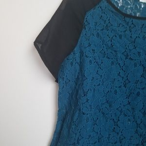 Lush Tops - Lush lace top dark teal with black cap sleeves